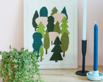 Punch Needle Wall Hanging | Trees | Embroidery