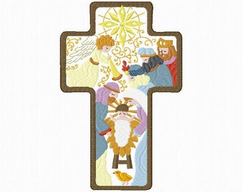 """Nativity"" embroidery for machine embroidery 2 sizes in size 5 x 7"