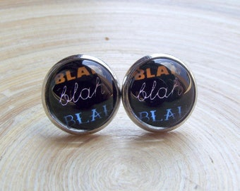 Bla bla BLA statement studs 10 mm with statement motif bla bla bla slogan comic new size 10 mm