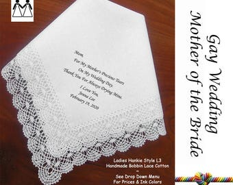 Gay Wedding ~ Mother of the Bride Gifts L115 Title, Sign & Date for Free!  Wedding Hankie Poem Printed Hankie Mother of the Bride Gift