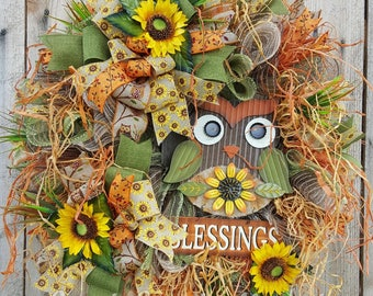 Blessings Fall Mesh Wreath-Owl Wreath-Welcome Door Wreath-Fall Wreath-Autumn Wreath-Welcome Wreath-Wreath For Front Door-Sunflower Wreath