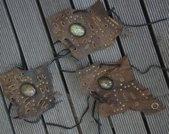 Gypsy, tribal leather wrist cuffs