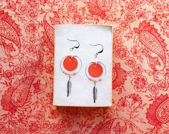 "Earrings ""Nikiti"" vermilion red leather, feather, plated silver"