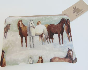 Handmade Horse Makeup Bag, Wild Horses, Stallion In Snow, Pony Padded Pouch