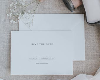 Classic and Elegant Save the Date Cards. Simplistic Save the Date Cards. Printed Save the Date Cards.