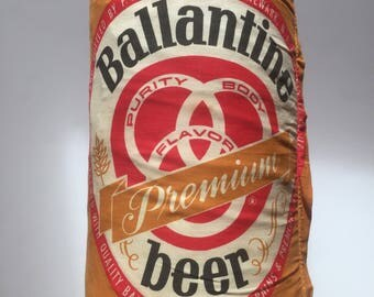 Vintage Ballantine Beer Pillow 14inX8in Man Cave