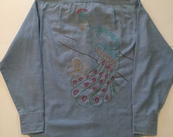Vintage 1970s Bic Mac Embroidered Chambray Shirt Mens Small