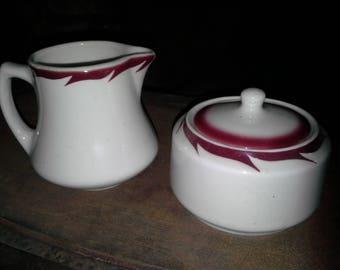 Sugar & Creamer set - Wellsville China - Pink Garland