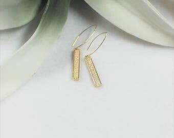 Druzy Earrings, Druzy Bar Earrings, Druzy Rectangular Earrings, White Druzy Earrings, Gold Druzy Earrings