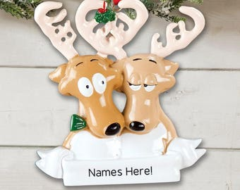 Reindeer Couple Personalized Ornament, Personalized Ornament, Reindeer Ornament