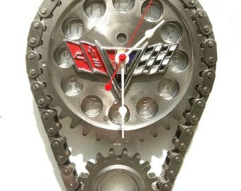Vintage Chevrolet Timing Gear Clock / Corvette Camaro Impala / Garage Engine Auto Car Part Gift Gear Head Man Cave Mechanic