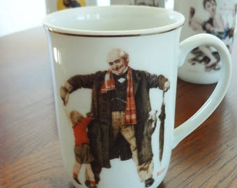 "Vintage Norman Rockwell mug, 1936 ""Puppy in the Pocket"""
