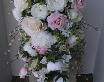 Boho Bridal Bouquet Wedding Flowers Silk Flower Cascade Pink Blush