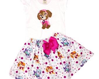 Girl Paw Patrol birthday outfit, Skye girl outfit toddler Paw patrol dress girl name outfit girl clothes girl toddler Skye Paw Patrol dress