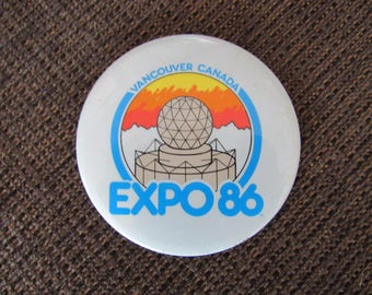 Vintage Vancouver Expo 86 Pinback Button Canada Free Shipping