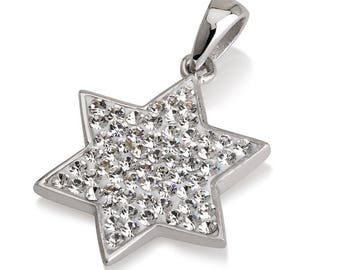 Star of David Pendant White Gemstones + Sterling Silver Necklace #2