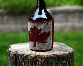 Canada Flag Beer Growler Cozy, Knit Wool Canada Day Growler Cover