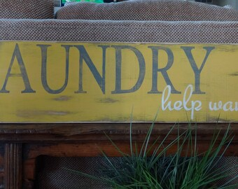 Laundry sign. Hand painted wood sign/ Laundry help wanted sign/ wash room sign/ Laundry room decor