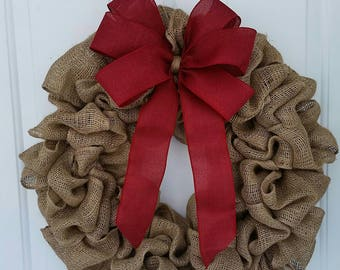 Burlap wreath / Wreath with Bow / Red Wreath / Front Door Wreath / Wreath for Door / Rustic Wreath / Wreath / Everyday Wreath