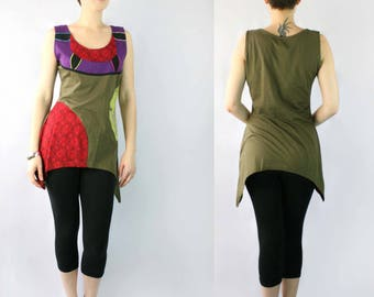 Asymmetric Hem Tunic with Patchwork Design