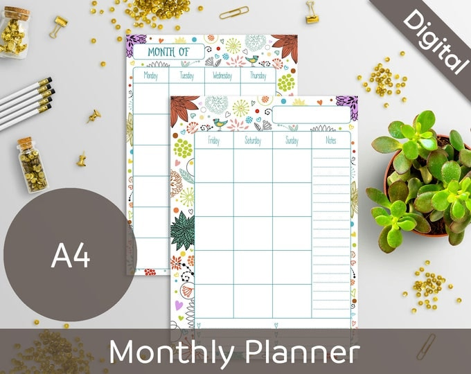 A4 Monthly Planner Printable, 2 Page Undated Monthly, Monthly refill, Syasia Cute Floral Day Organizer, DIY Planner PDF Instant Download