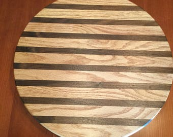 handmade lazy susan oak walnut