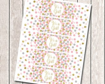 It's A Girl Water Bottle Labels Baby Shower Water Bottle Wrappers Printable Pink Gray Gold Confetti Water Bottle Labels Confetti Party