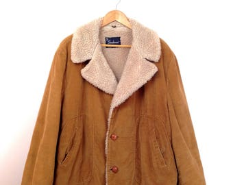 Grunge Corduroy Faux Shearling Lined Coat Mens Large Vintage 70s