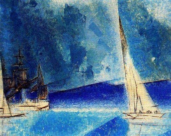Lyonel Feininger Blue Coast 1944 Original Lithograph 1st Edition OOP