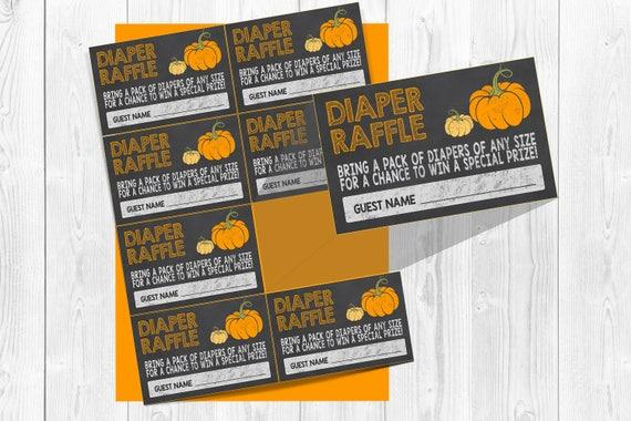 fall diaper raffle tickets pumpkin baby shower diaper raffle