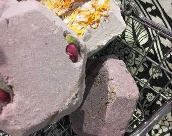 Diamond Bar, Floral Bath Bomb, Rose Petals, Calendula Petals