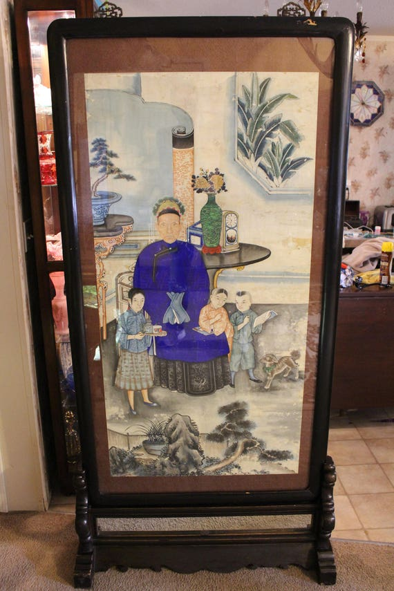 Painting 19th Century Antique Chinese Family Portrait With Floor Stand