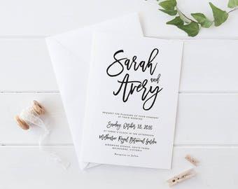 Printable Wedding Invitation Set, Black and White Wedding Invitation, Simple Elegant Invitation, Modern Wedding Invitation Set