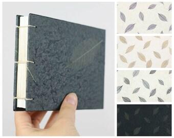 Custom Sketchbook, Custom Journal, Landscape Sketchbook, Wide Notebook, Wedding Guestbook, Lined, Dot Grid, Black, Watercolor Journal, A6