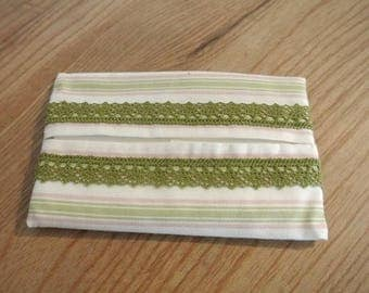 Striped green and pink tissue case