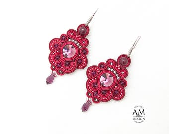 Party Earrings Large Swarovsky Crystal Earrings Boho Chic Soutache Statement Beads Dangle Jewelry