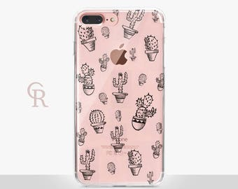 Cactus iPhone X Case - Clear Case - For iPhone 8 - iPhone X - iPhone 7 Plus - iPhone 6 - iPhone 6S - iPhone SE Transparent - Samsung S8
