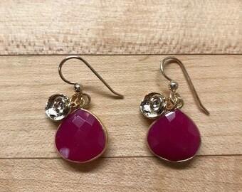 Hot pink chalcedony drop earrings