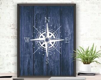 SALE Compass Art Print, Compass Pose, Nautical Poster, Digital Download, Rustic Wood, Printable Compass, Nautical Bedroom Art,Rustic Nautica