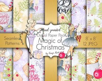 Watercolor Paper Pack, Winter Digital Paper, Christmas Paper Pack, Christmas Patterns, Holiday Patterns, December clipart, Christmas tree
