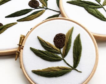 Olive 4 Inch Hand Embroidered Hoop