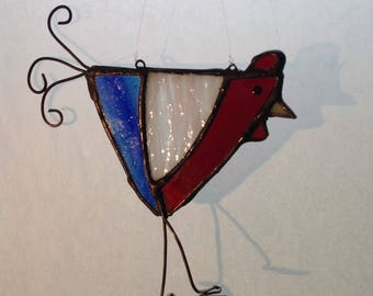 Red White Blue American Stainglass Chicken