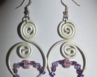 White aluminum Wire Earrings