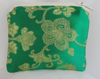 Small Green and Gold Brocade and Satin Coinpurse Coin Purse Pendulum Crystals Dice Miniatures Zipper Bag Pouch Fancy