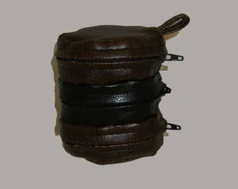 Faux Leather Dice Bag Brown and Black Divided Sectioned Pouch Dungeons and Dragons D&D RPG Role Playing Die Section Miniatures Pleather