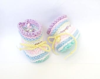 Rainbow multicolor wool baby shoes 0/3 months - new
