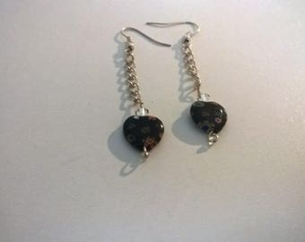 Liberty floral on black chains Murano glass heart earrings dangling