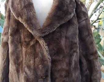 BUYBYE20OFF Vintage Adolph Schuman for Lilli Ann Faux Fur Coat Vegan Friendly /  Cruelty Free Size L/Xl