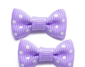 1 x purple stream with white dots bow