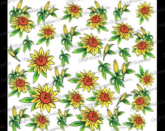 Flowers of yellow sunflowers M910 transfers
